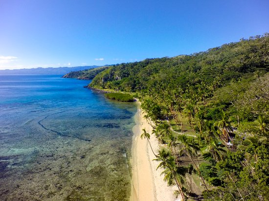 Βανούα Λέβου, Φίτζι: Aerial shot of the Main Beach at The Remote Resort, Fiji Islands