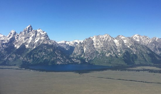 Aerial view of Jenny Lake east of Grand Tetons range