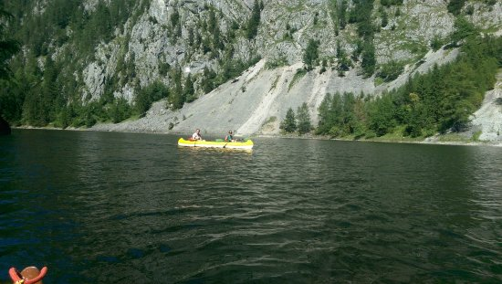 Salza-Stausee: Our Friends' Canoe Dwarfed By Mountain