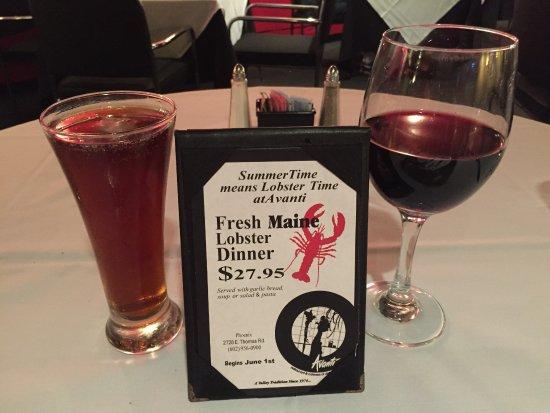 Avanti Restaurants of Distinction: Fresh Maine lobster dinner special