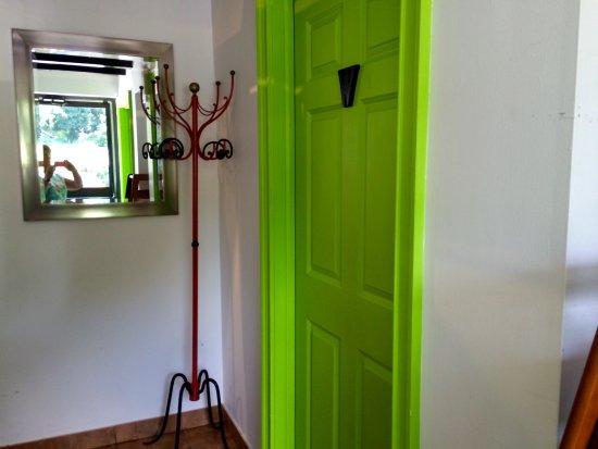 Olio : Lime green rest room doors