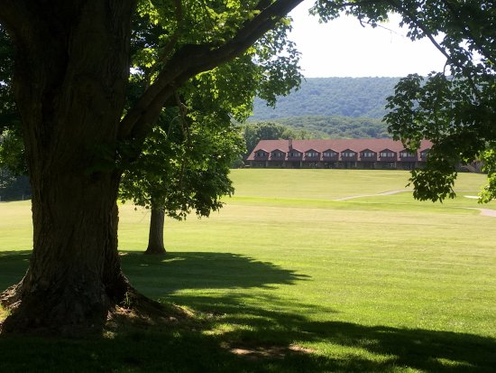 Cacapon Resort State Park: View of lodge across the greens