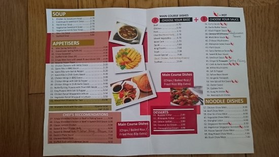 Chester-le-Street, UK: take out Menu