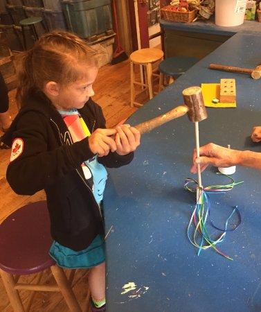 New Glasgow, Canada: Making her own magic wand.