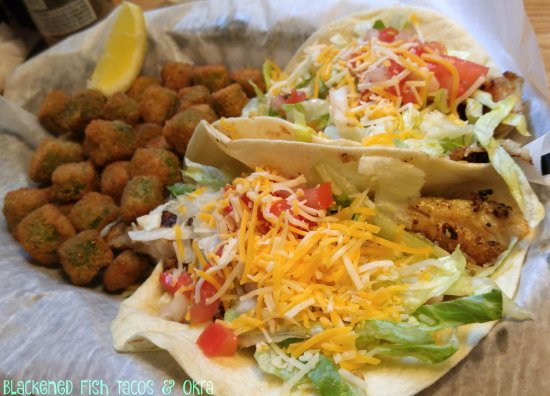 Cocoa, FL: Blackened Fish Tacos with Fried Okra. Good Choice!