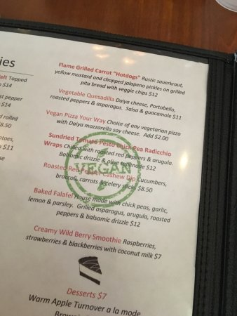 Phoenixville, PA: Vegan options on menu.