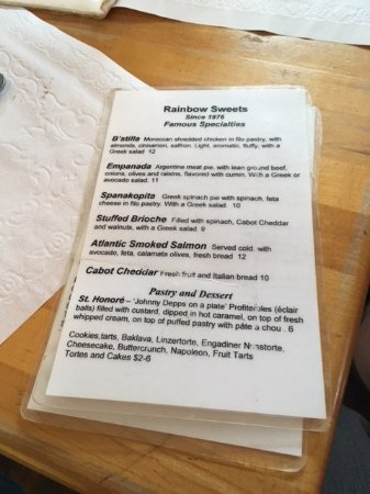Marshfield, VT: The menu