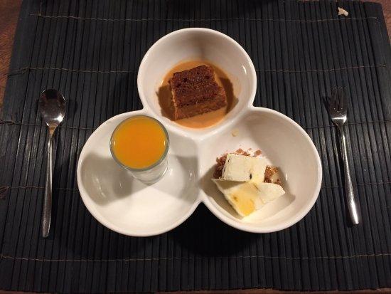 Maret, Thailand: Ginger and passionfruit semi freddo, Coconut panna cotta with mango coulis, and Thai tea tres le