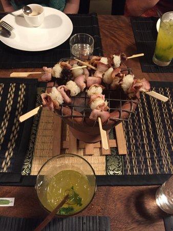 Maret, Thailand: Marinated pork belly skewers