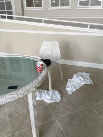 Frazer, Пенсильвания: Neglected pool at Sheraton. Glassware, empty bin for towels, random green mold near chairs, wet