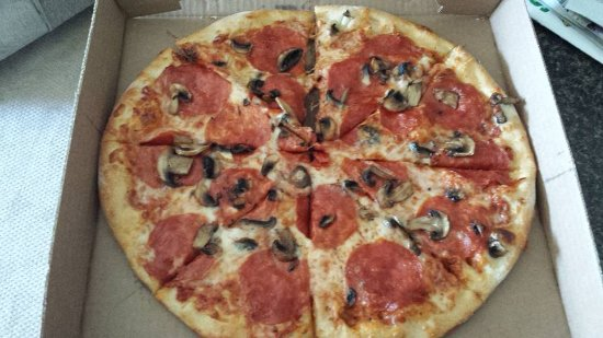 Essex, VT: Pepperoni and mushroom pizza