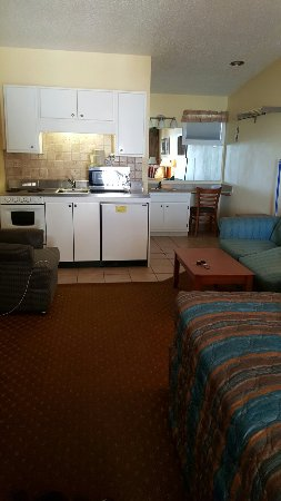 "The Pelican Motel: The room with an ""updated"" kitchen we were told we would have. The kitchen looked to be from the"