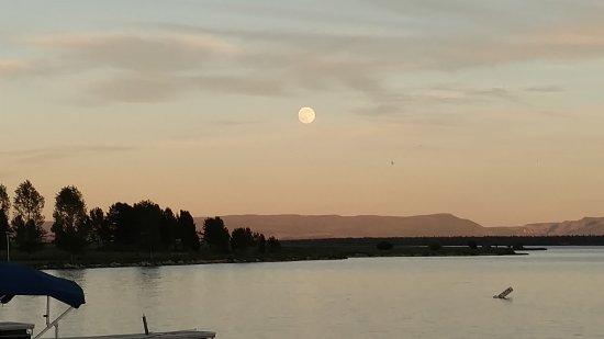 Yellowstone Holiday RV Campground & Marina: Moon rising over Lake Hegben, taken from the Marina.