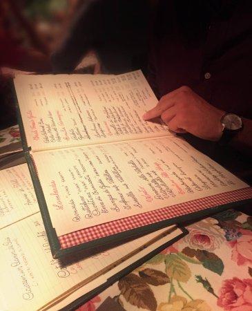Carta dei vini scrita a mano