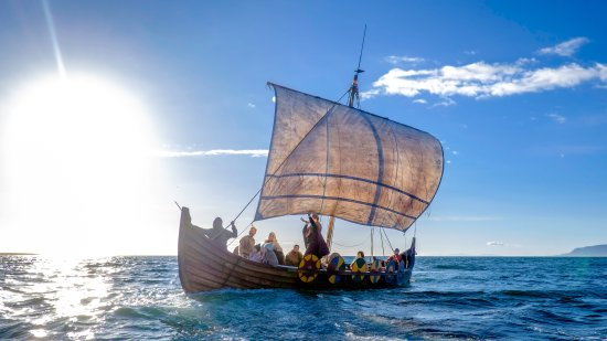 Thingeyri, Iceland: Midnight sun on a Viking Ship