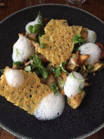 Lutterworth, UK: Parmesan gnocchi & globe artichoke, asparagus, broad bean & wild mushrooms