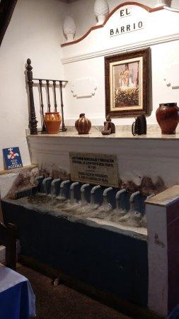 Fuenteheridos, España: Detalle. Reproducción de la famosa fuente de los 12 caños de la plaza.