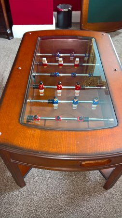 Coffee table in our bedroom turned into a table football game