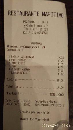 Restaurante Maritimo: conto