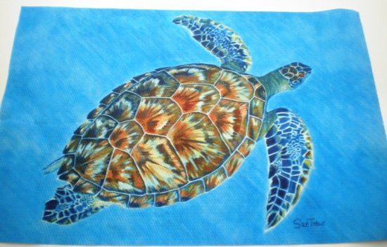 Rockley, Barbados: set/4 placemats Turtle, beautiful blue