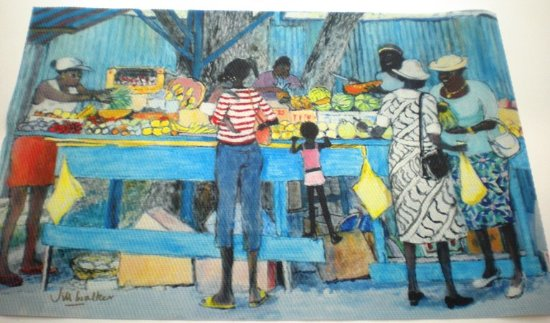 Rockley, Barbados: set/4 placemats Fruit Stall