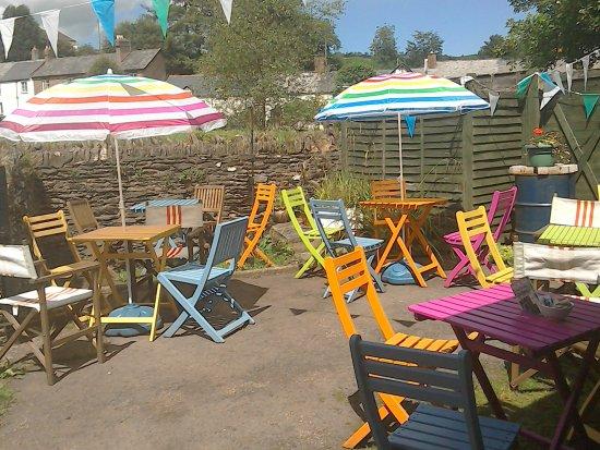 Exford, UK: Come and enjoy a cream tea in our sunny garden.
