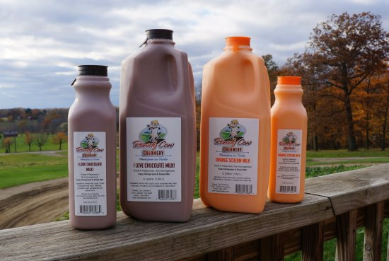 Burton, Οχάιο: Rowdy Cow Creamery milk bottled on-farm at Hastings Dairy