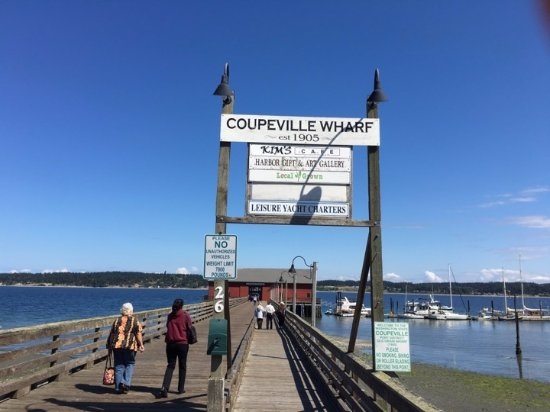 The Salty Muf is at the vey end of the Coupeville Pier.  The sign is not on the large sign on th