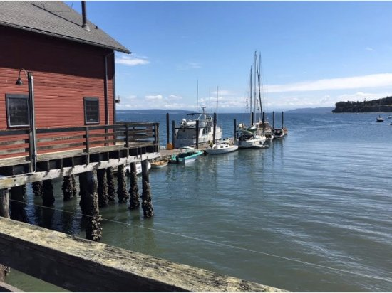 Boat dock at Coupeville Pier could be use to come to The Salty Mug by water,