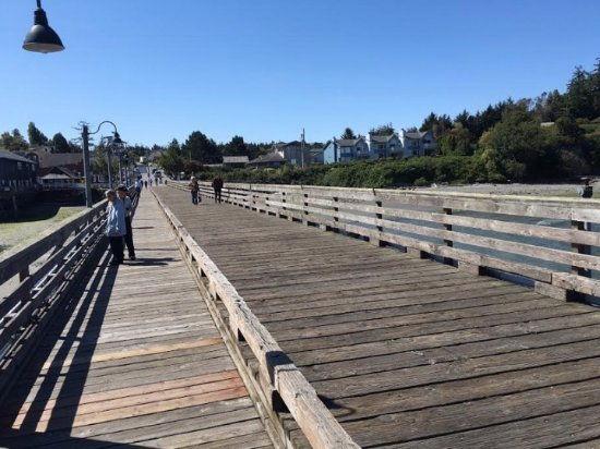 Walking back to dry land from The Salty Mug on the Coupeville Pier.