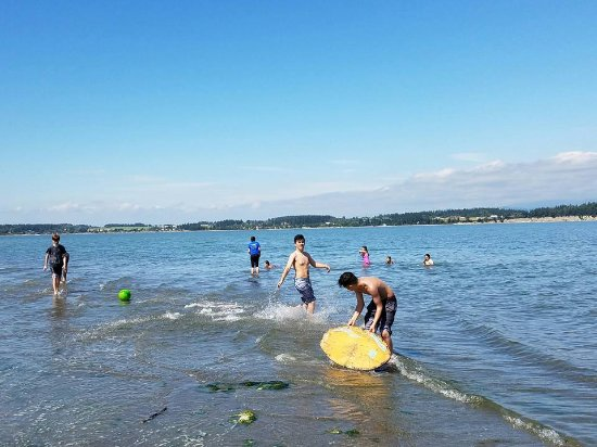 Camano Island, WA: Kids playing in the water (sand bottom!)