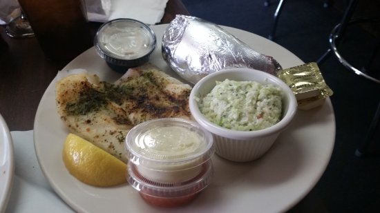 Maple Shade, NJ: broiled cod with cole slaw and baked potato