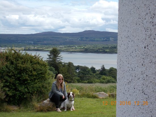 Creeslough, Ireland: garden and scenery in background