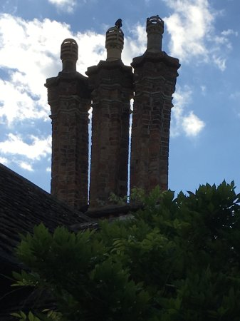 Blaise Hamlet: The impressive Chimneys on top of one of the cottages