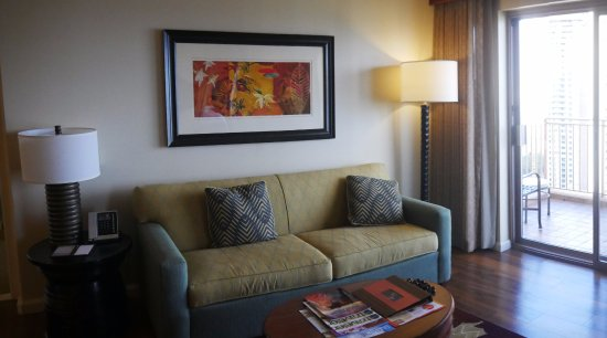 Grand Waikikian by Hilton Grand Vacations: Living room in a 2-bedroom premier suite