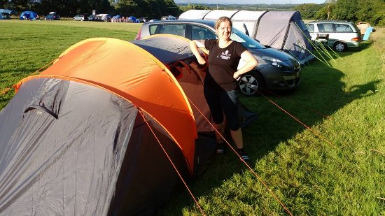 Hellingly, UK: Wife by the tent.