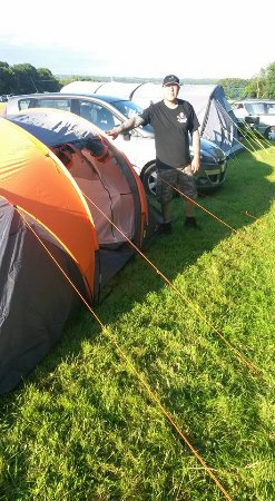 Hellingly, UK: Standing by the tent.