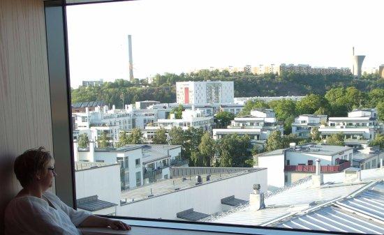 Park Inn by Radisson Stockholm Hammarby Sjostad: Vy mot stan från våning 7