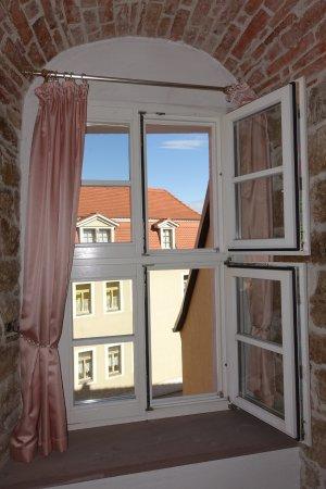 Querfurt, Deutschland: View from room onto street.