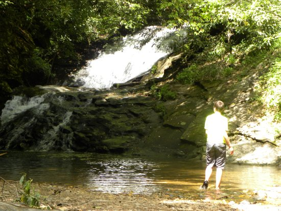 Suches, จอร์เจีย: There is a small pool at the bottom of the falls; most of the river is shallow.