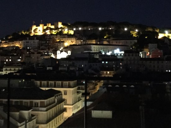 Hotel do Chiado : Night view of Lisbon, Castelo Sao Jorge on top left