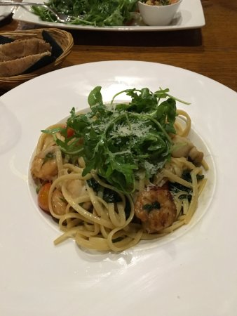Munlochy, UK: King Prawns with Scallops and linguini