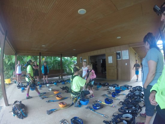 Hakalau, HI: Staff prepares the group with gear, and instructions.