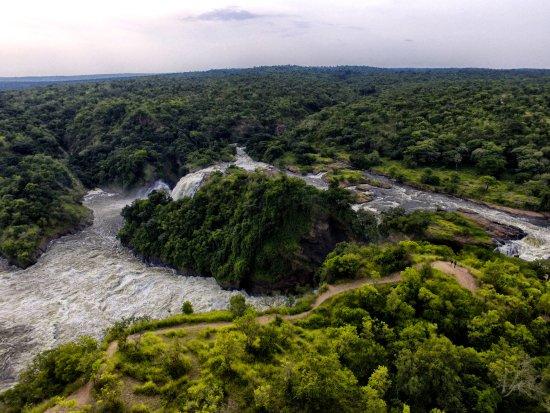 Murchison Falls National Park, Uganda: Arial of Murchison falls