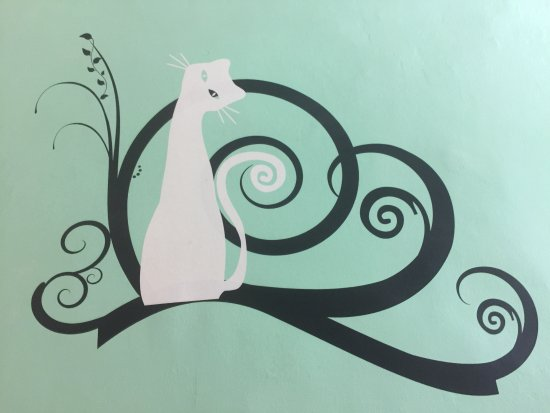 Pension Norma: The ONLY THING I like about this hotel was this cute kitty painted on the wall.