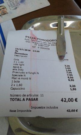 Gran Tarajal, Spain: La cuenta