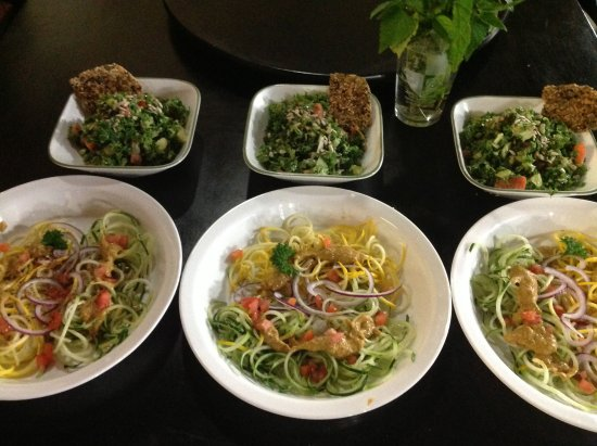 Pittsford, VT : Dinner special being served; spiralized RAW squash dish with kale salad.