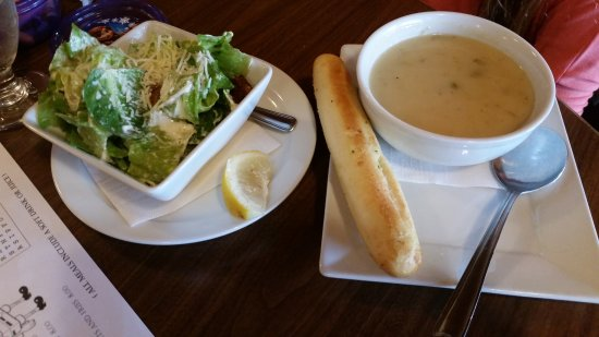 La Cabina Ristorante at The Prestige Inn: Ceaser salad and soup of the day (broccoli)
