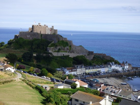 Gorey village and Mont Orgueil towering over.