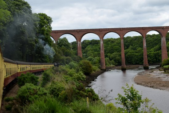 Pickering, UK: Approach to Whitby, the Larpool viaduct